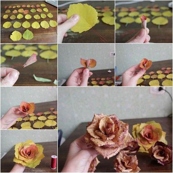осенний букет из фруктов и листьев