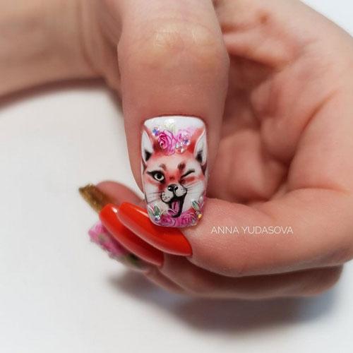 яркий осенний маникюр 2021 на длинные ногти