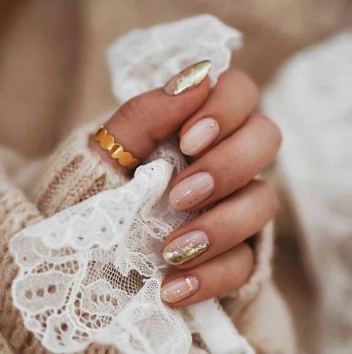 длинные ногти с осенним маникюром 8