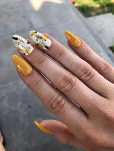идеи осеннего маникюра на длинные ногти с фото 9