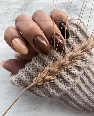 идеи осеннего маникюра на длинные ногти 9
