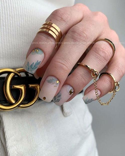 красивый осенний маникюр на длинные ногти с фото 2