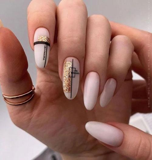 красивый осенний маникюр на длинные ногти 10