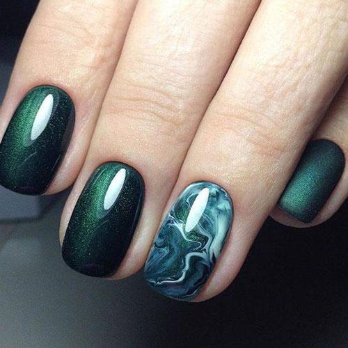 красивый осенний маникюр на длинные ногти 9