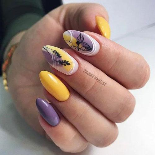 красивый осенний маникюр на длинные ногти 7