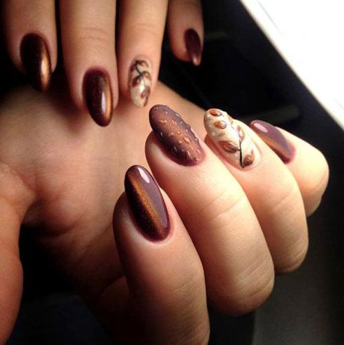 красивый осенний маникюр на длинные ногти 4