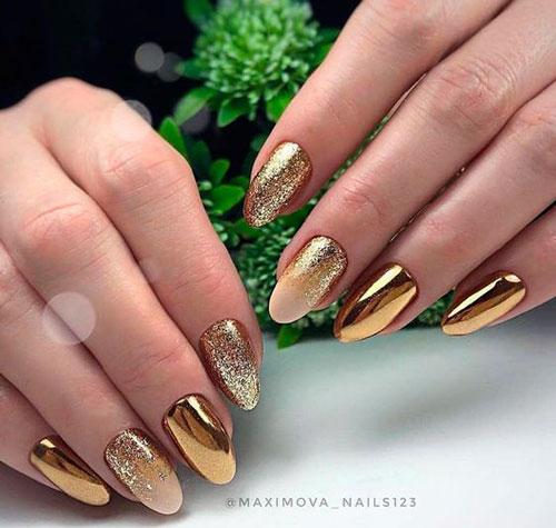 красивый осенний маникюр на длинные ногти 3