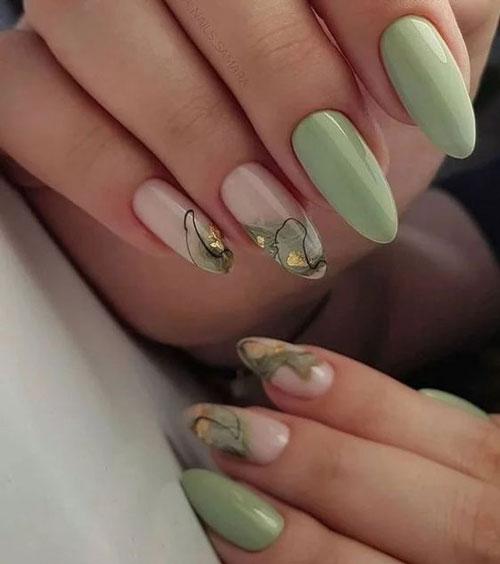 красивый осенний маникюр на длинные ногти