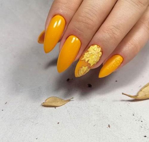 длинные ногти с осенним маникюром новые тренды 4