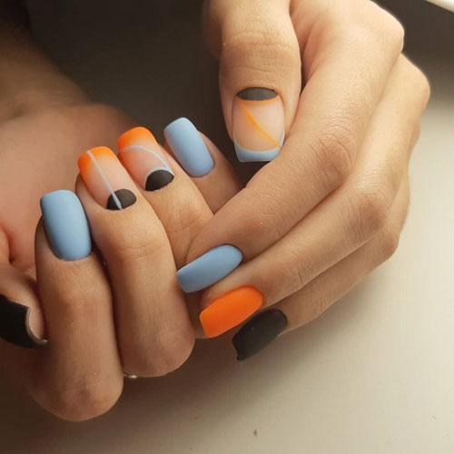 яркий осенний маникюр 2021 на длинные ногти 8