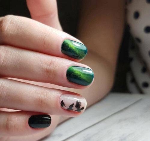 яркий осенний маникюр 2021 на длинные ногти 7