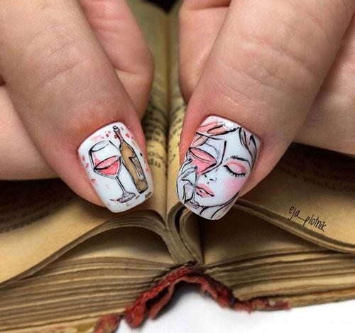 яркий осенний маникюр 2021 на длинные ногти 5