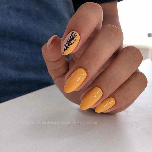 длинные ногти с осенним маникюром новые тренды 2