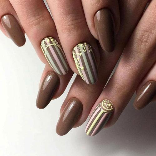 красивый осенний маникюр 2021 на длинные ногти