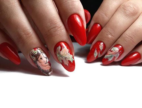яркий осенний маникюр на длинные ногти фото