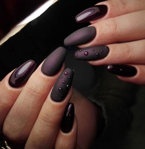 темный осенний маникюр на длинные ногти