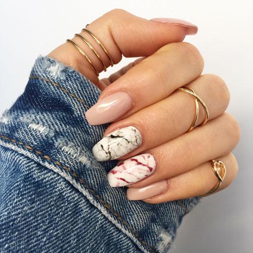 осенний маникюр на длинные ногти миндалевидной формы