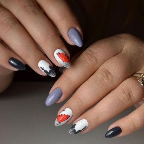 осенний маникюр на длинные ногти с зотиком
