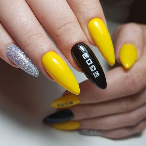 осенний маникюр на длинные ногти в желтых цветах
