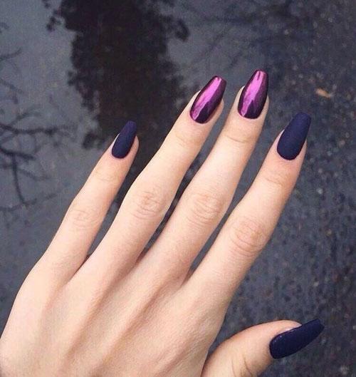 длинные ногти с осенним маникюром