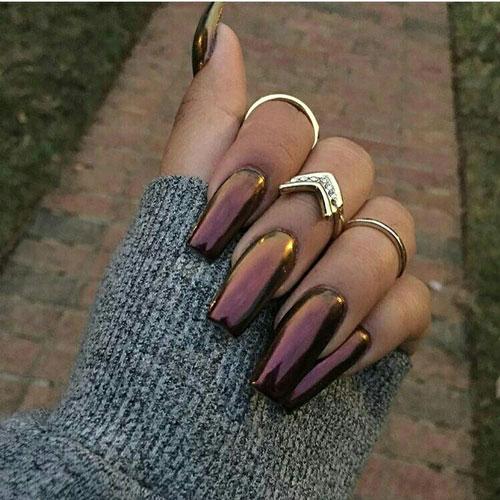 Осенний маникюр на длинные ногти 2