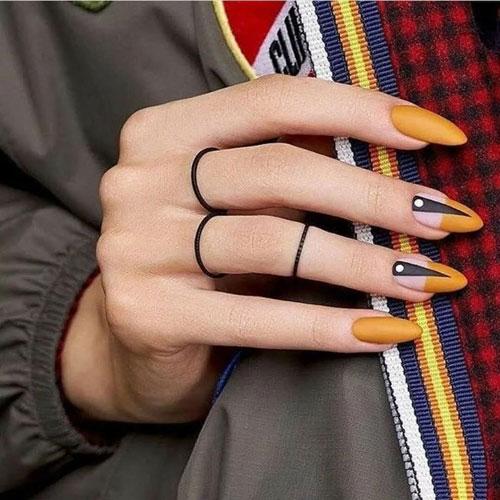 маникюр осенний дизайн на длинные ногти