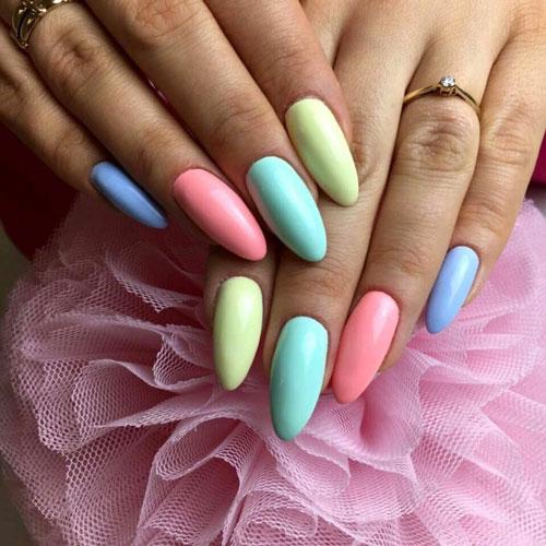 Осенний маникюр на длинные ногти разных цветов