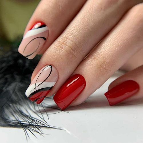 осенний маникюр на длинные квадратные ногти