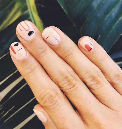 яркий осенний маникюр на короткие ногти