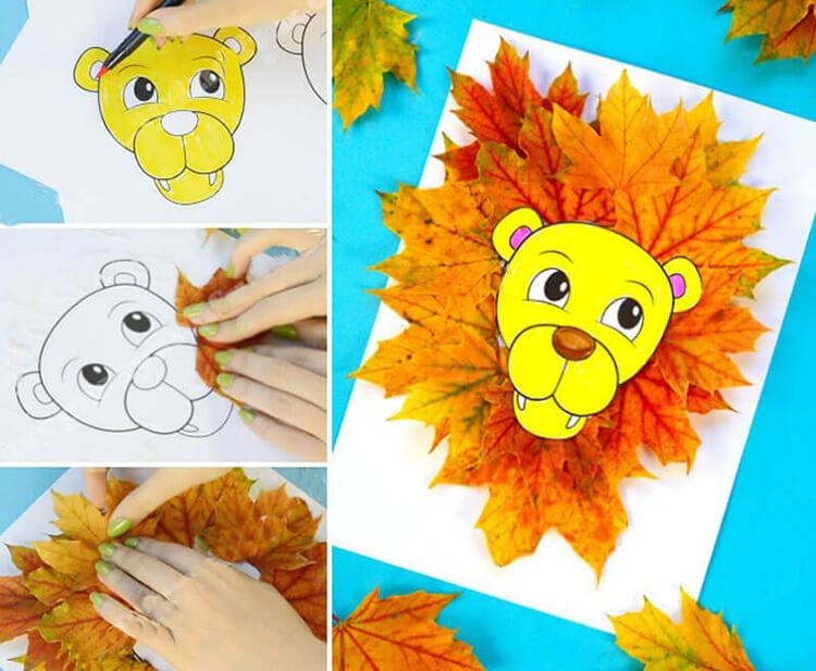 Поделки из листьев на тему осени для детей 3 лет