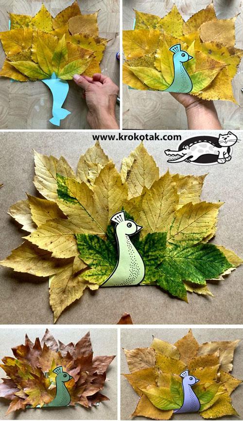 поделки из листьев на тему осень в школу