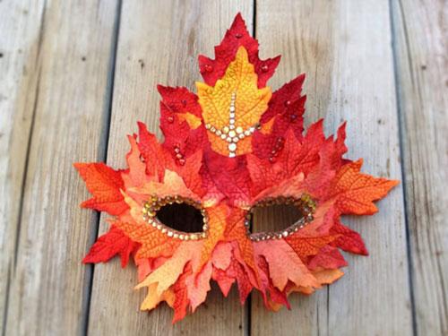 Поделки из листьев на тему осени маска