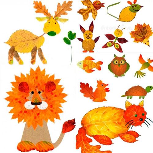 детские поделки из листьев на тему осени 2