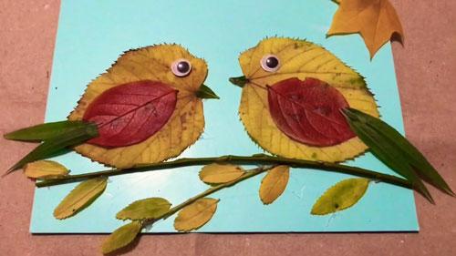 поделка совы из листьев на тему осень