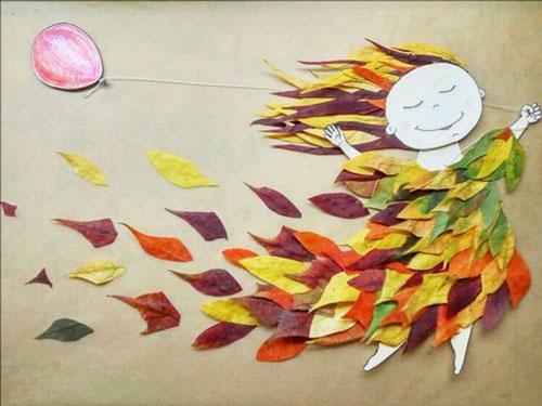 поделки на тему осень из осенних листьев