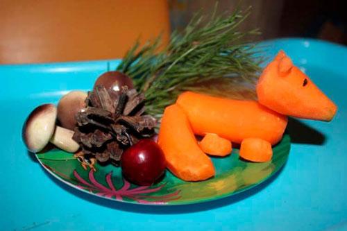 Поделки на тему осень из овощей и фруктов в детский сад
