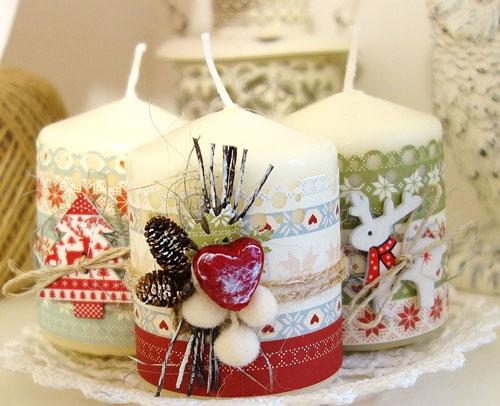 свечи своими руками на новый год в домашних условиях 3