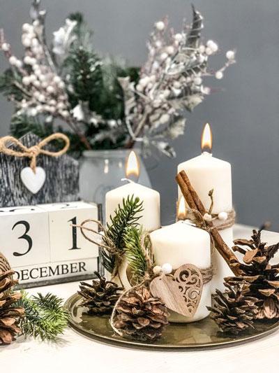 новогодние композиции со свечами в домашних условиях