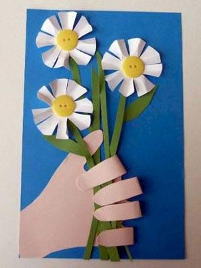 красивая открытка ко дню матери из бумаги для детей 3 лет