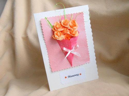 красивая открытка ко дню матери из бумаги для детей
