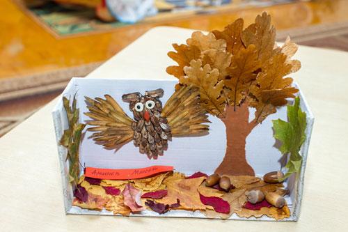 Поделки из природного материала Золотая осень для детей в школу 3