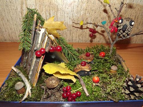 Поделки из природного материала Золотая осень для детей в школу 4